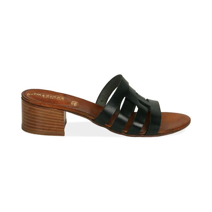 Sandali neri in pelle di vacchetta, tacco 4,5 cm , Primadonna, 177248215VANERO036