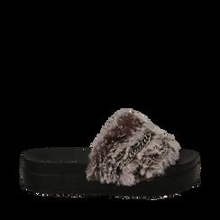 Ciabatte nude in eco-fur con catenelle, Primadonna, 112061302FUNUDE035, 001a