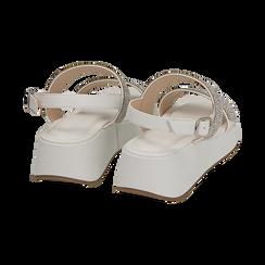Sandali bianchi in microfibra, zeppa 4,50 cm , Scarpe, 154991102EPBIAN036, 004 preview