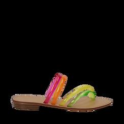 Sandali flat multilistino fluo multicolor in pvc, Primadonna, 134950613PVMULT036, 001a