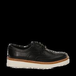 Stringate flatform nere in eco-pelle, Scarpe, 133009503EPNERO036, 001a