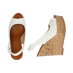 Sandali platform bianchi in eco-pelle, zeppa in sughero 12 cm , Primadonna, 134907982EPBIAN035, 003 preview