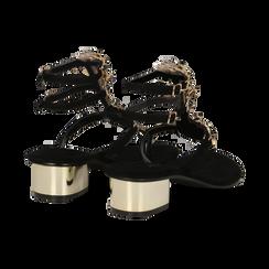Sandali gioiello infradito neri in microfibra, tacco 6 cm, Primadonna, 134986238MFNERO036, 004 preview