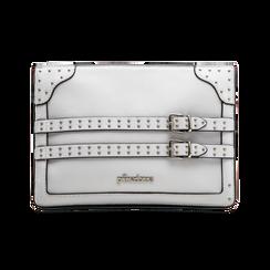 Pochette bianca in ecopelle con dobbia fibbia, Borse, 122701281EPBIANUNI, 001 preview