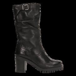 Stivali neri gambale drappegiato in vera pelle, tacco 5 cm, Primadonna, 127723814PENERO035, 001a