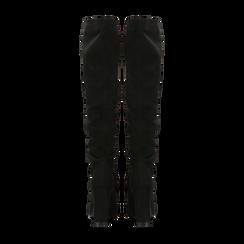 Stivali neri scamosciati con gambale dritto, tacco quadrato 9,5 cm, Primadonna, 122166717MFNERO, 003 preview