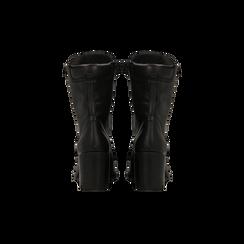 Anfibi neri con gambale alto, tacco medio, Primadonna, 124500080VINERO039, 003 preview