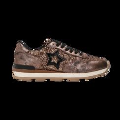 Sneakers bronzo dettagli glitter e metallizzati , Scarpe, 121308201GLBRON, 001 preview