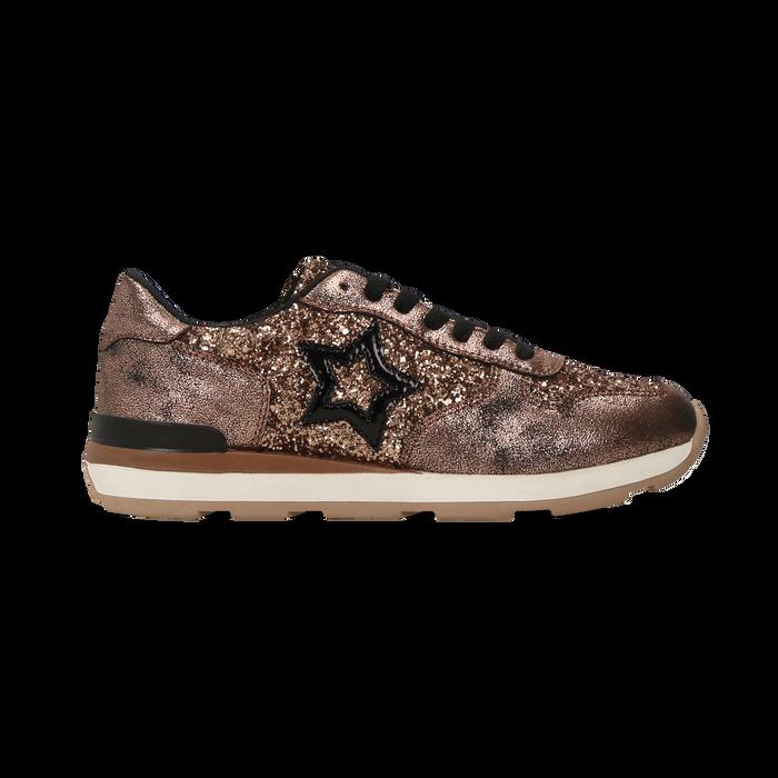 Sneakers bronzo dettagli glitter e metallizzati , Scarpe, 121308201GLBRON