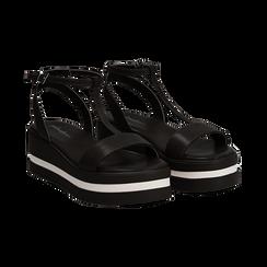 Sandali platform neri in eco-pelle, zeppa 5 cm ,