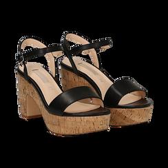 Sandali neri in eco-pelle, tacco in sughero 9 cm , Saldi Estivi, 138402256EPNERO036, 002 preview