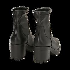 Biker boots neri in eco-pelle, tacco 7 cm , Stivaletti, 142828200EPNERO, 004 preview