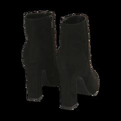 Ankle boots neri in microfibra, tacco 10 cm , Primadonna, 164822754MFNERO035, 004 preview