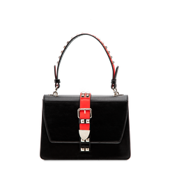Mini bag nero-rossa in ecopelle con borchie, Borse, 121909421EPNERSUNI, 001a