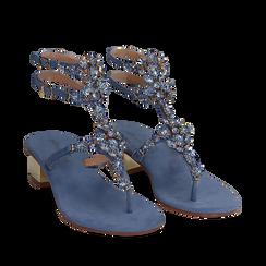 Sandali gioiello infradito azzurri in microfibra, tacco 6 cm, Primadonna, 134986238MFAZZU035, 002a