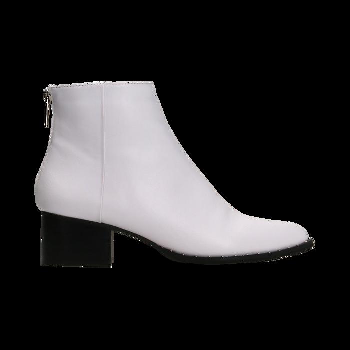 Tronchetti bianchi con zip, tacco medio 4,5 cm, Primadonna, 122752721EPBIAN036