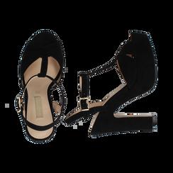 Sandali con plateau neri in microfibra, tacco 13 cm, Sandali con tacco, 138404162MFNERO036, 003 preview