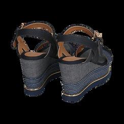Sandali jeans, zeppa 9,50 cm , Primadonna, 154401118TSJEAN036, 004 preview