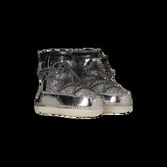 Scarponcini da neve argento dettagli in vernice e glitter, Scarpe, 124106721GLARGE036, 002
