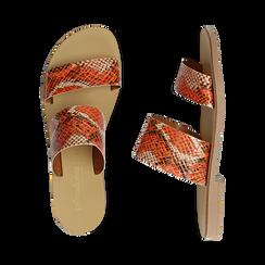 Mules flat arancio in vernice effetto snake skin, Saldi Estivi, 136767003PTARAN036, 003 preview