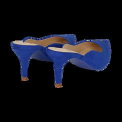 Mules blu cobalto in microfibra, tacco 7,50 cm , Primadonna, 152133675MFBLCO035, 004 preview