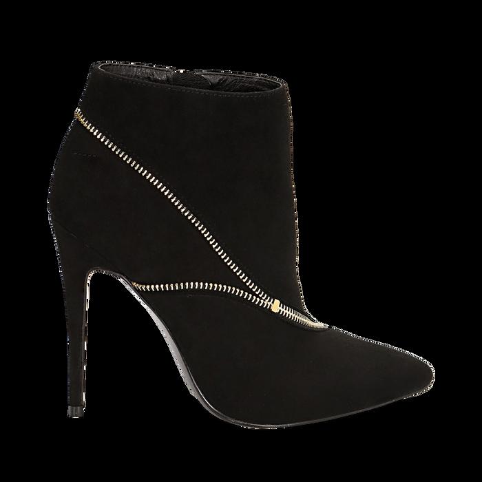 Ankle boots neri con zip, tacco 10,50 cm , Stivaletti, 142150061MFNERO035