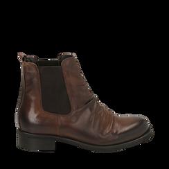 Chelsea boots cuoio in pelle di vitello , Stivaletti, 14A919642VICUOI035, 001a