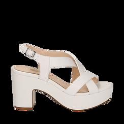 Sandali con plateau bianchi in eco-pelle, tacco 9 cm , Scarpe, 138402258EPBIAN035, 001a