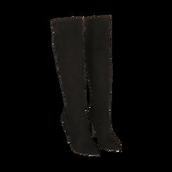 Overknee neri in microfibra, tacco 11,5 cm , Stivali, 142160055MFNERO041, 002 preview