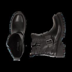Biker boots con fibbie neri in eco-pelle, tacco 4,5 cm , Stivaletti, 140585663EPNERO036, 003 preview