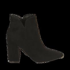 Ankle boots neri in microfibra, tacco 9 cm , Primadonna, 162709165MFNERO035, 001a
