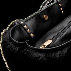 Borsa shopper nera in pelliccia con pochette e portamonete, Borse, 125702076FUNEROUNI, 006 preview
