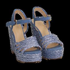 Sandali azzurri in rafia, zeppa 12 cm , Zapatos, 154978888RFAZZU038, 002 preview