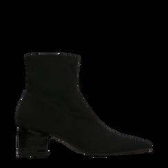 Tronchetti calzino neri, tacco 4 cm, 124895551LYNERO035, 001a