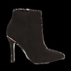 Ankle boots neri in microfibra, tacco 10,5 cm , Scarpe, 142168616MFNERO035, 001a