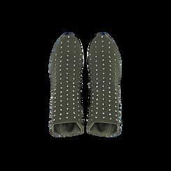 Sneakers verdi slip-on in lycra con cristalli, Scarpe, 122808611LYVERD, 004 preview