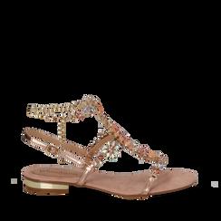 Sandali gioiello flat nude in microfibra, Primadonna, 134994222MFNUDE036, 001a