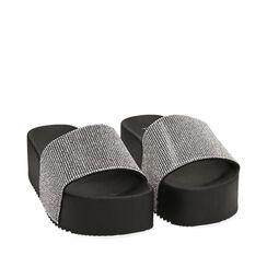 Chaussons plateforme en pvc noir, semelle 5 cm, Primadonna, 174700072PVNERO036, 002a