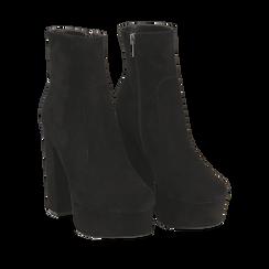 Ankle boots neri con plateau, tacco 13 cm , Scarpe, 144894159MFNERO036, 002a