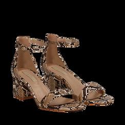 Sandali beige in eco-pelle effetto snake skin, tacco 5,5 cm, Sandali con tacco, 132707031PTBEIG037, 002a