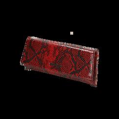 Pochette piatta rossa in eco-pelle snake print, Primadonna, 145122510PTROSSUNI, 002 preview