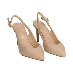 Slingback beige de piel, tacón 9 cm, Zapatos, 15D601002VIBEIG037, 002 preview
