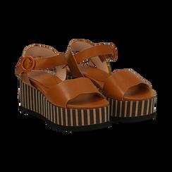 Sandali platform cuoio in eco-pelle, zeppa optical 7,50 cm , Saldi Estivi, 134901231EPCUOI036, 002 preview