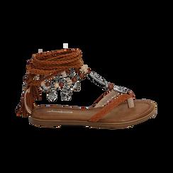 Sandali infradito lace-up cuoio , Scarpe, 153683578EPCUOI, 001 preview