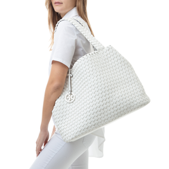 Maxi-bag bianca in eco-pelle intrecciata , Borse, 135786118EIBIANUNI, 002a