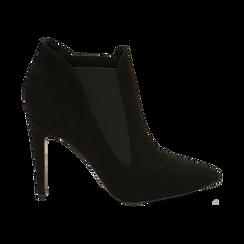 Ankle boots neri in microfibra, tacco 10,50 cm , Primadonna, 162123741MFNERO036, 001 preview