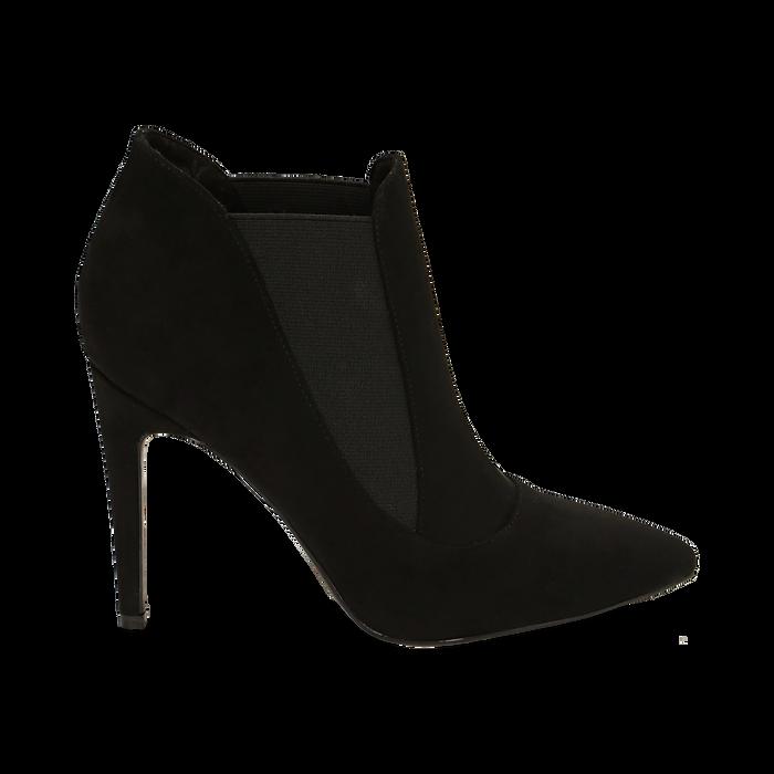 Ankle boots neri in microfibra, tacco 10,50 cm , Primadonna, 162123741MFNERO038