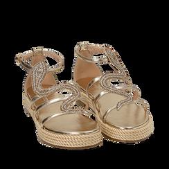 Sandali oro in laminato, Primadonna, 154965221LMOROG036, 002a