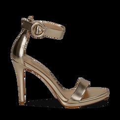 Sandali oro in laminato, tacco stiletto 10 cm , Primadonna, 132127405LMOROG035, 001a