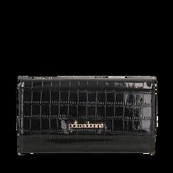 Portafogli nero in eco-pelle effetto cocco , Borse, 142200898CCNEROUNI, 001a